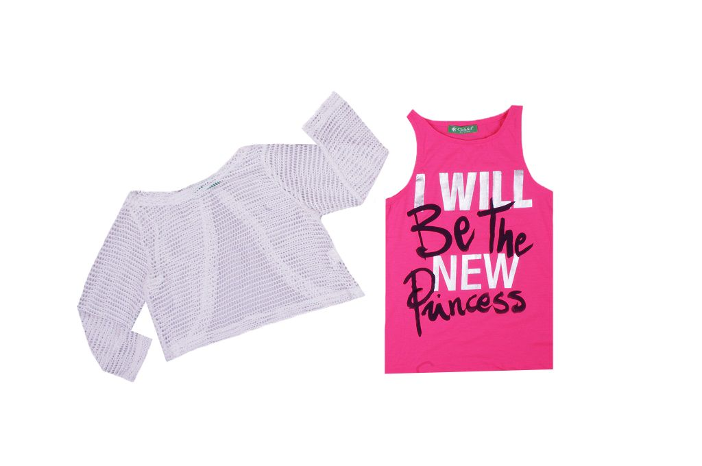 T-shirt set with blouse mesh