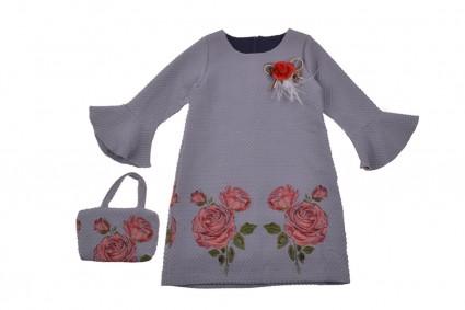 Dress long sleeve with purse