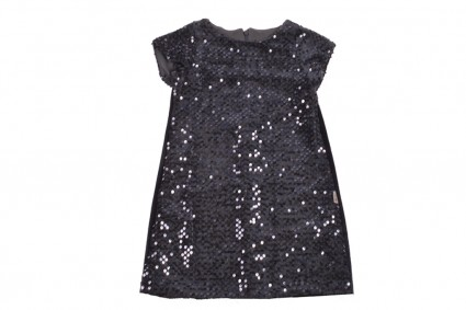 Official short sleeve dress with sequins