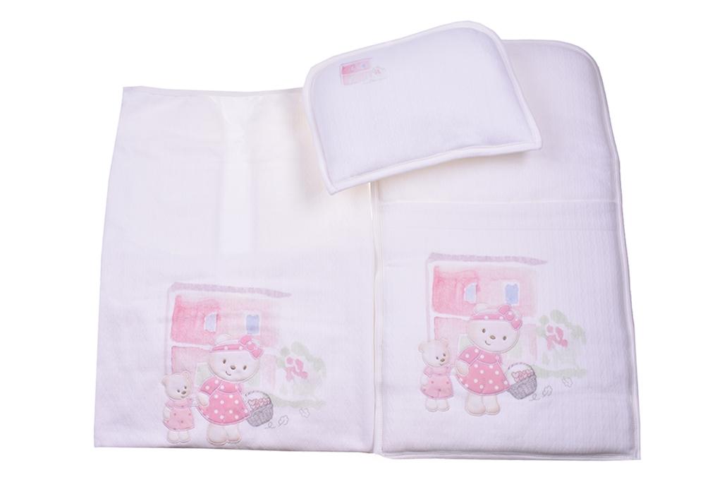 Комплект за количка с възглавница и пелена момиче