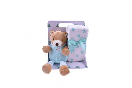Toy with a blanket in a box