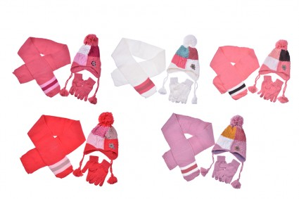 Set with hat, scarf and gloves girl 6 pieces