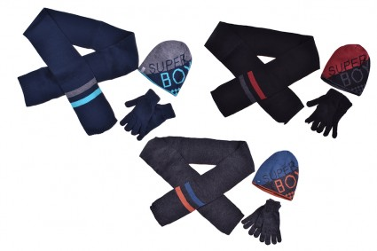 Set with hat, scarf and gloves boy 6 pieces