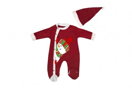 Christmas jumpsuit long sleeve with hat