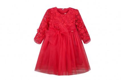 Официална рокля къс ръкав с тюл