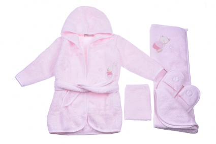 Bath set with bathrobe girl Baby girl clothes