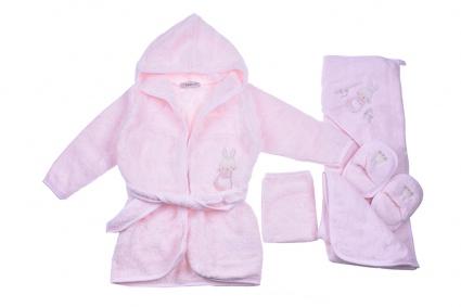 Bath set with bathrobe girl Baby girl clothes