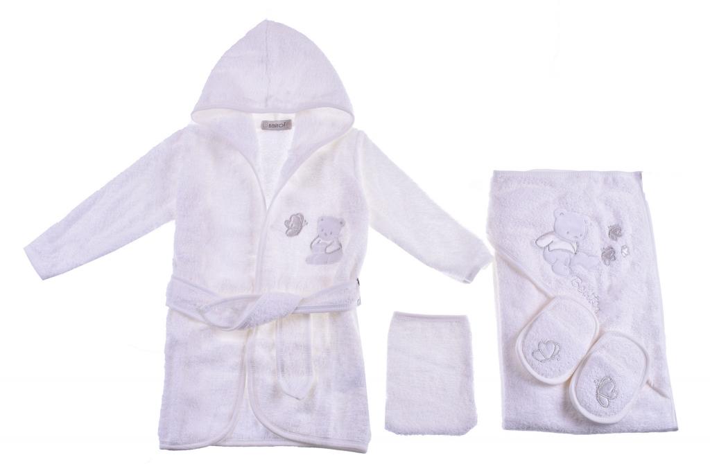 Bathroom set with bathrobe girl