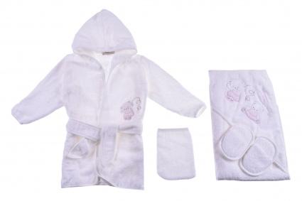 Bathroom set with bathrobe girl Baby girl clothes