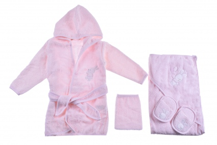 Bathroom set with bathrobe girl Baby girl clothes