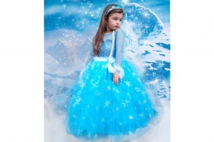 Elsa frozen tiara long sleeve dress