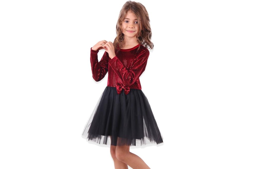 Детска Рокля дълъг ръкав с тюл и лента за коса - Коледа