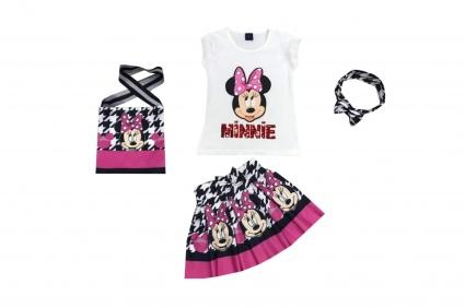 Комплект къс ръкав момиче с чантичка и лента за коса - Mickey Mouse