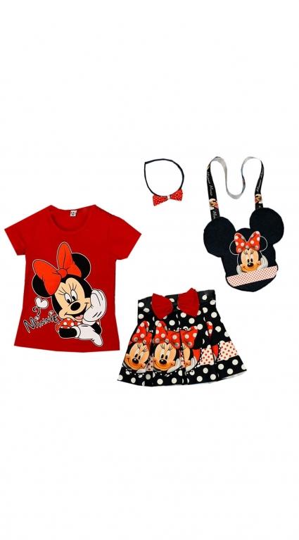 Комплект къс ръкав момиче с диадема и чантичка - Minnie Mouse