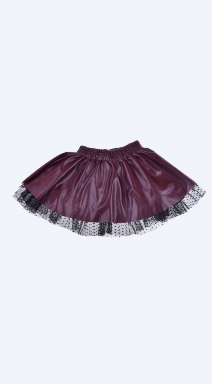 Leather skirt with tulle