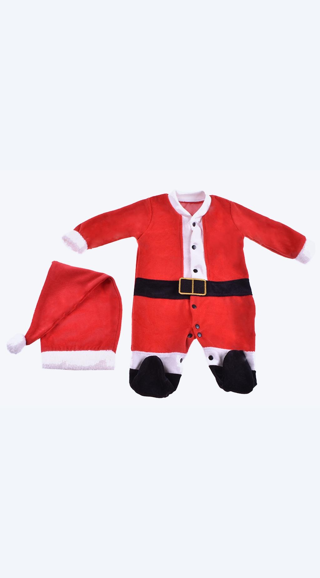 Бебешки Коледен гащеризон дълъг ръкав с шапка