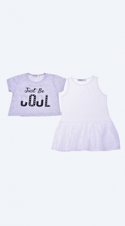 Short sleeve tunic for girl 2 parts
