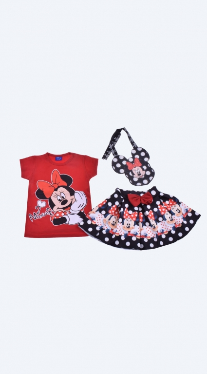 Set of short-sleeved girl with a minnie mouse bag