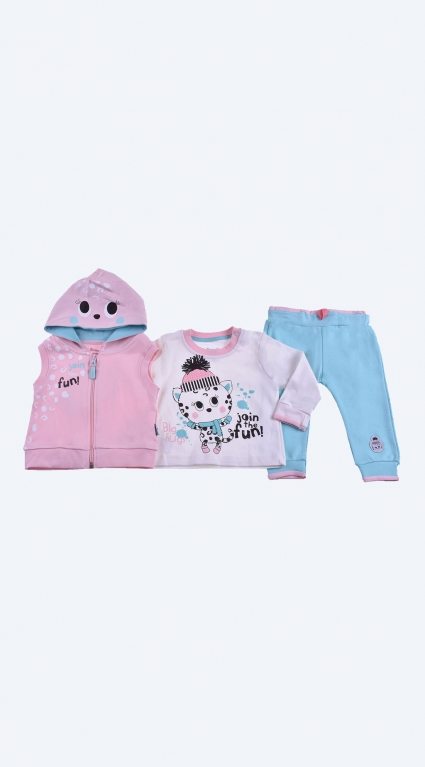 Set long sleeve girl 3 pieces