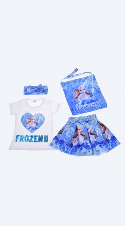 Short sleeve girl set with frozen hairband and bag