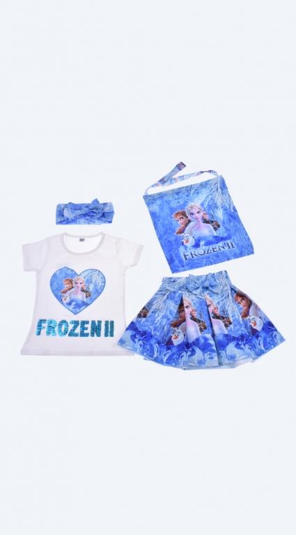 Комплект къс ръкав момиче с лента за коса и чантичка - Frozen
