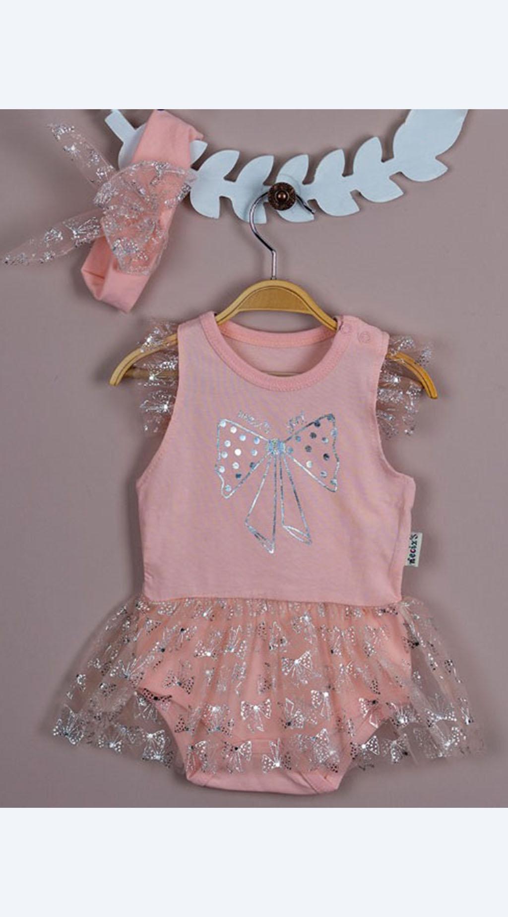 Боди рокля с лента за коса Baby Girl