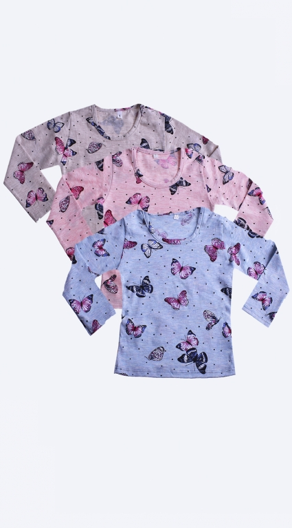 Блуза дълъг ръкав за момиче 3 броя