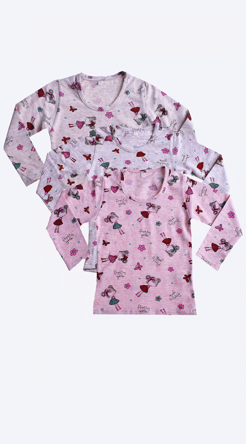 Long sleeve blouse for a girl 3 pieces