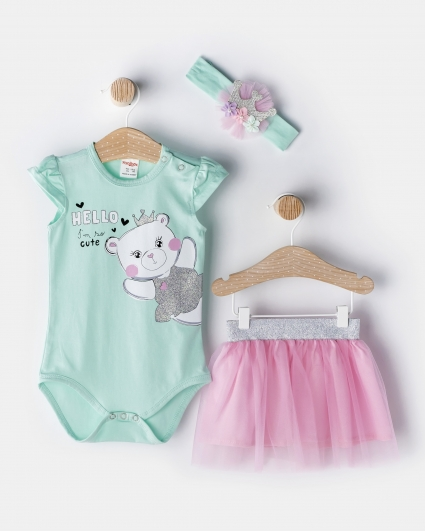 Girl set 3 pieces with ribbon