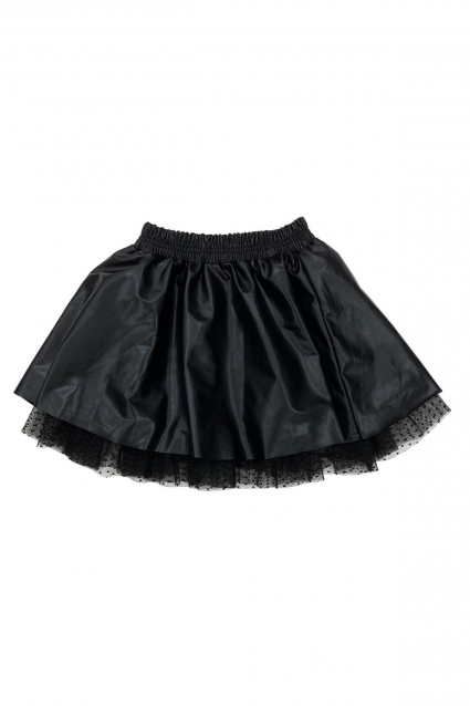 Skirt with leather and tulle