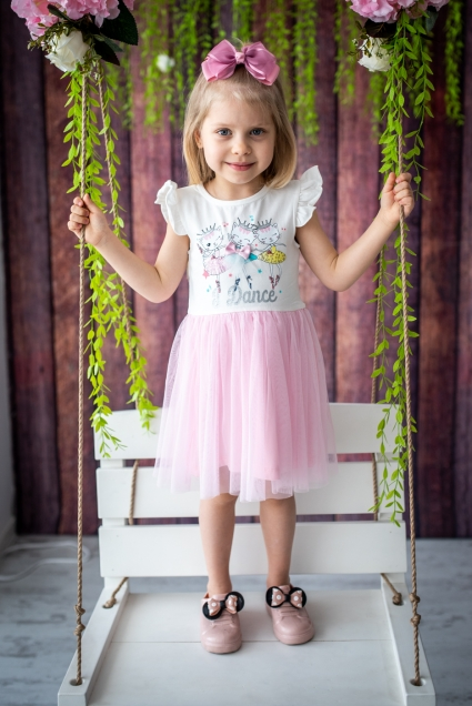 Short sleeve dress with tulle