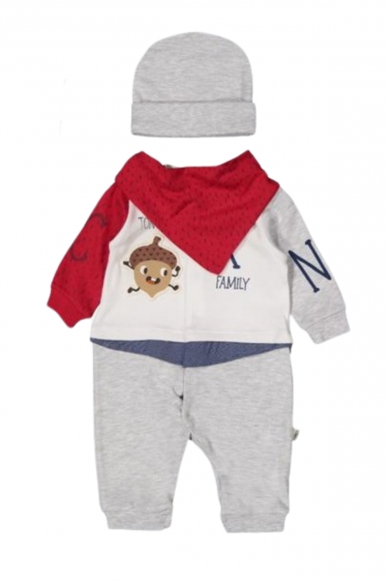 Long sleeve overalls with a hat