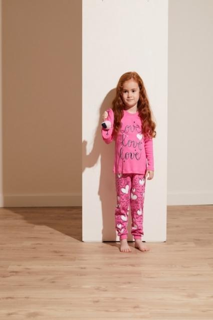 Пижама момиче дълъг ръкав 3 части