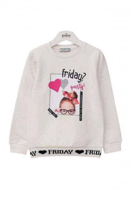 Blouse girl long sleeves cotton wool