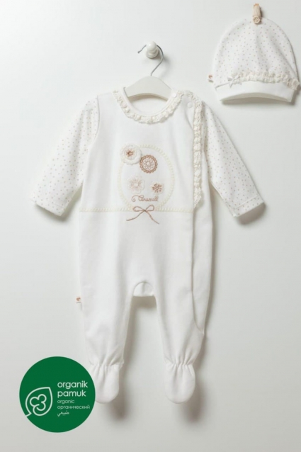 Long sleeve jumpsuit with organic hat